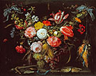 A Swag of Flowers and Fruit Representing the Four Elements By Abraham Mignon