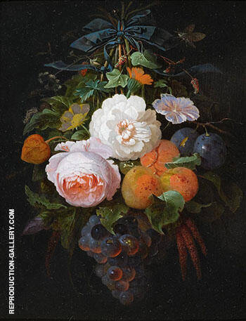 A Swag of Fruit and Flowers Hanging from a Nail Painting By Abraham Mignon