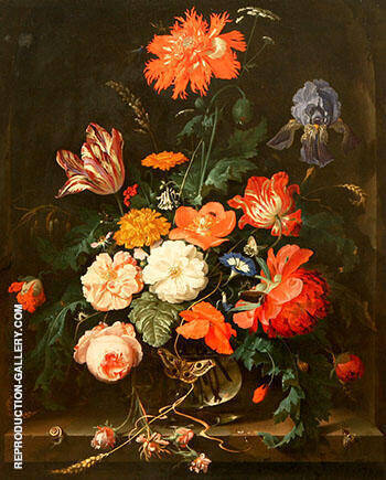 A Vase of Flowers By Abraham Mignon