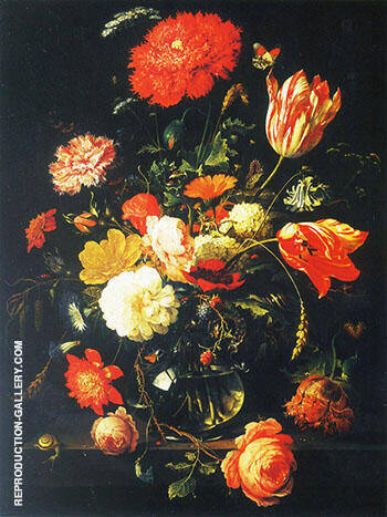 Decanter with Flowers and Blackberries Painting By Abraham Mignon