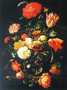 Decanter with Flowers and Blackberries By Abraham Mignon