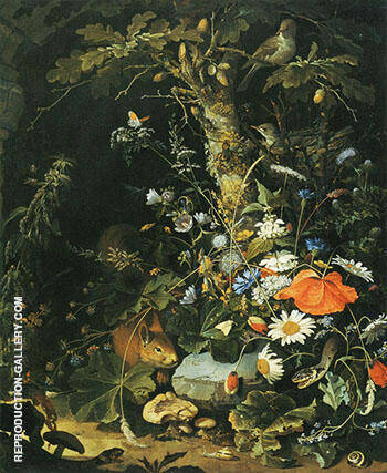 Flowers Animals and Insects Painting By Abraham Mignon