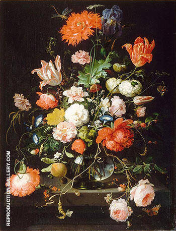 Flowers in a Crystal Decanter Placed on a Pedestal of Stone with a Dragonfly 1650 By Abraham Mignon - Oil Paintings & Art Reproductions - Reproduction Gallery