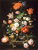 Flowers in a Crystal Decanter Placed on a Pedestal of Stone with a Dragonfly 1650 By Abraham Mignon
