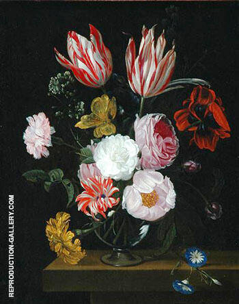 Flowers in a Crystal Decanter with a Pea Branch and a Snail By Abraham Mignon