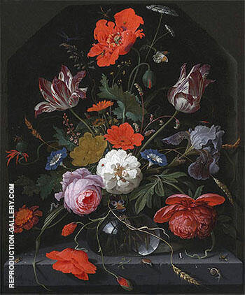 Flowers in a Glass Vase on a Ledge c 1665 By Abraham Mignon - Oil Paintings & Art Reproductions - Reproduction Gallery