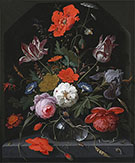 Flowers in a Glass Vase on a Ledge c 1665 By Abraham Mignon