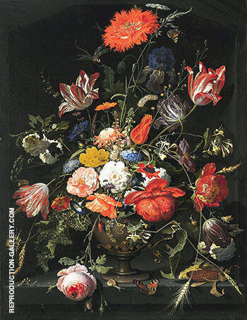 Reproduction of Flowers in a Metal Vase in a Niche circa 1670 by Abraham Mignon | Oil Painting Replica On CanvasReproduction Gallery