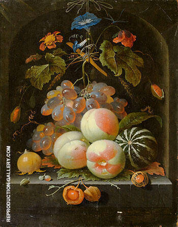 Fruit and Flower Still Life with Grapes Peaches Melon Poppy and Insects in a Stone Niche 1675 By Abraham Mignon