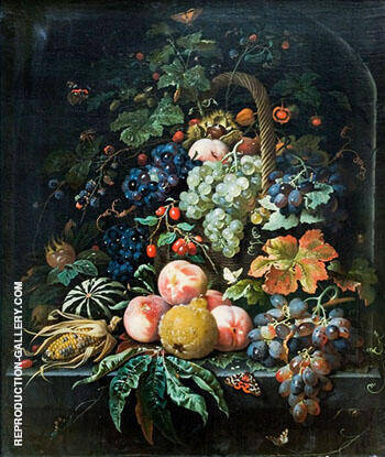 Fruits Basket Insects and Butterflies on Stone Niche Background By Abraham Mignon