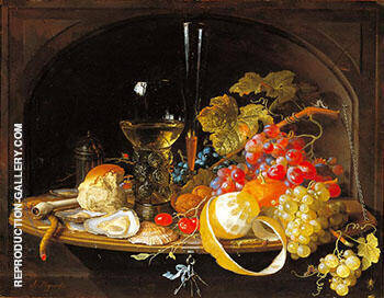 Fruits Oysters Painting By Abraham Mignon - Reproduction Gallery