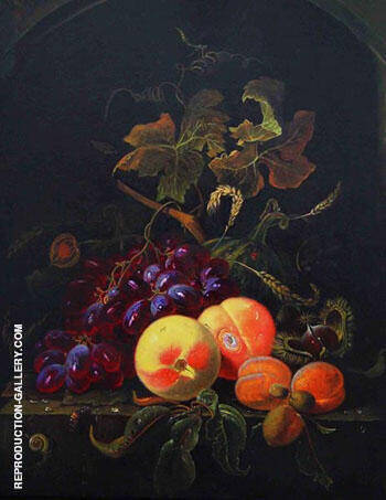 Fruit Still Life with Peaches Grapes and Apricot Painting By ...