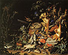 Game Fish and nest on the Forest Floor By Abraham Mignon