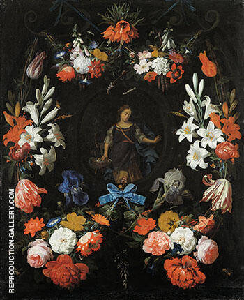 Garland of Flowers c 1675 By Abraham Mignon