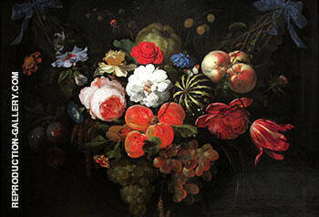 Garland of Fruit and Flowers c 1660 Painting By Abraham Mignon