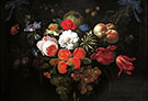 Garland of Fruit and Flowers c 1660 By Abraham Mignon