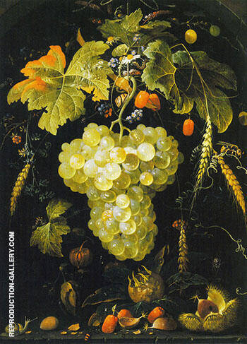 Grapes Painting By Abraham Mignon - Reproduction Gallery