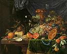 Stilleven met Vruchten Oesters 1670 By Abraham Mignon