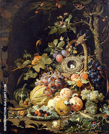 Still Life in a Bird's Nest By Abraham Mignon