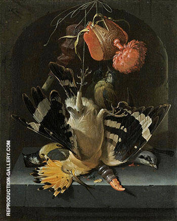 Still Life with a Hoopoe a Great Tit By Abraham Mignon