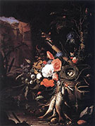 Still Life with Fishes and Bird Nest 1670 By Abraham Mignon