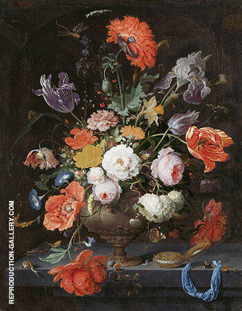 Still Life with Flowers and a Watch By Abraham Mignon Replica Paintings on Canvas - Reproduction Gallery