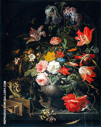 Still Life with Flowers Cat and Mousetrap c 1670 By Abraham Mignon