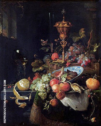 Still Life with Fruit and a Cup on the Pedestal in the Form of a Rooster's Feet 1660-1679 By Abraham Mignon