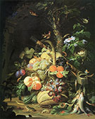Still Life with Fruit Fish and a Nest c 1675 By Abraham Mignon