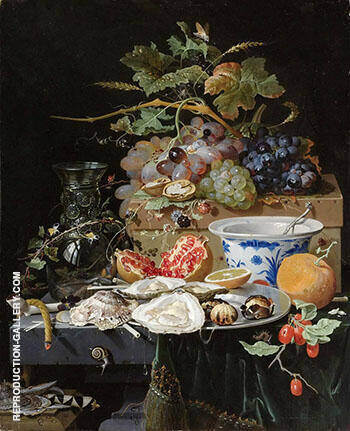 Still Life with Fruit Oysters and Porcelain Bowl c 1660 By Abraham Mignon
