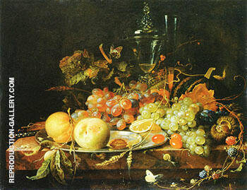 Still Life with Fruits 1663 By Abraham Mignon