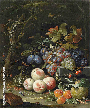 Still Life with Fruits Foliage and Insects c 1669 By Abraham Mignon Replica Paintings on Canvas - Reproduction Gallery