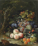 Still Life with Fruits Foliage and Insects c 1669 By Abraham Mignon
