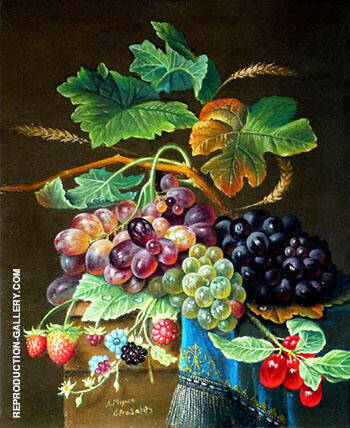 Still Life with Grapes By Abraham Mignon