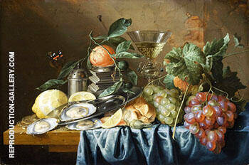 Still Life with Oysters By Abraham Mignon