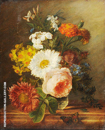 Still Liife of Flowers in a Glass Vase a Butterfly and other Insects in the Foreground By Abraham Mignon