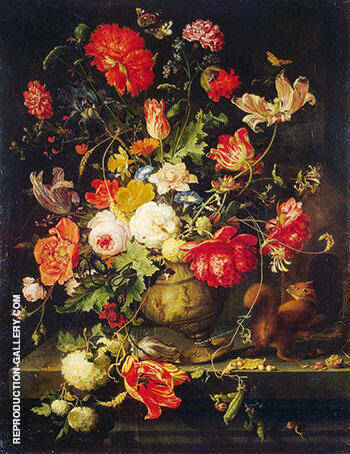 Vase of Flowers c 1660 By Abraham Mignon