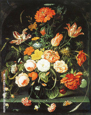 Vase with Flowers in a Niche By Abraham Mignon