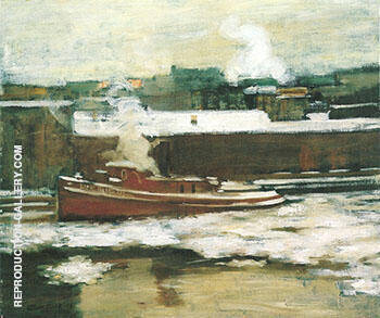 Pushing Through the Ice 1906 By Alson Skinner Clark Replica Paintings on Canvas - Reproduction Gallery