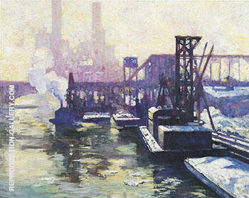 Winter Industrial Landscape on the Chicago River 1906 By Alson Skinner Clark