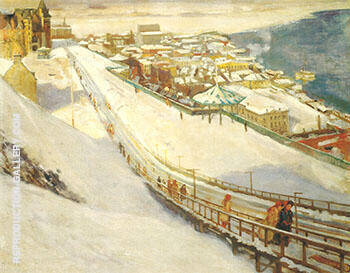 Toboggan Slide and Dufferin Terrace c 1906 By Alson Skinner Clark Replica Paintings on Canvas - Reproduction Gallery