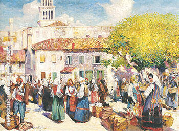 Bazaar Spalato c 1912 By Alson Skinner Clark - Oil Paintings & Art Reproductions - Reproduction Gallery