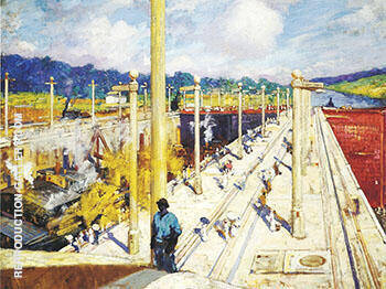 Reproduction of First Dredges through the Gatun Locks 1914 by Alson Skinner Clark | Oil Painting Replica On CanvasReproduction Gallery