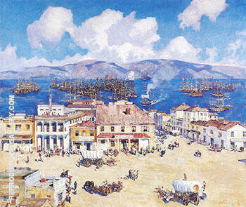 The Arrival of the Oregon at San Francisco c 1925-26 By Alson Skinner Clark - Oil Paintings & Art Reproductions - Reproduction Gallery