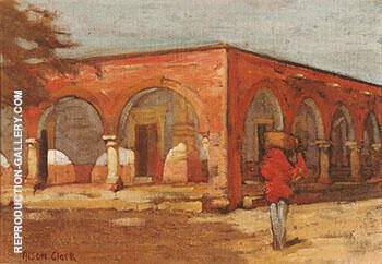 Reproduction of Figure Near a Mexican Arcade by Alson Skinner Clark | Oil Painting Replica On CanvasReproduction Gallery