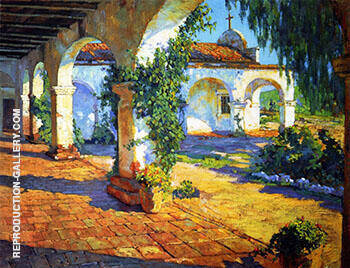 Mission Cloisters San Juan Capistrano 1921 By Alson Skinner Clark - Oil Paintings & Art Reproductions - Reproduction Gallery