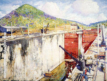 Pedro Miguel Locks Panama By Alson Skinner Clark - Oil Paintings & Art Reproductions - Reproduction Gallery