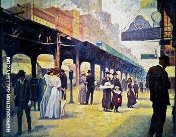 Reproduction of Wells Street Bridge and Northwestern Station c 1900 by Alson Skinner Clark | Oil Painting Replica On CanvasReproduction Gallery
