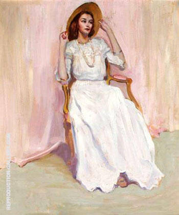 Ann Seated In Front of A Pink Backdrop Eleanor Anne Chandler Hugens By Alson Skinner Clark - Oil Paintings & Art Reproductions - Reproduction Gallery
