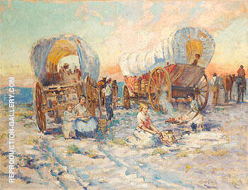 Covered Wagons By Alson Skinner Clark - Oil Paintings & Art Reproductions - Reproduction Gallery